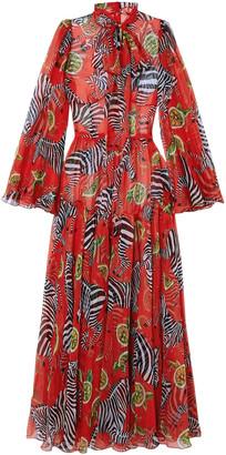 Dolce & Gabbana Printed Silk-chiffon Wide-leg Jumpsuit