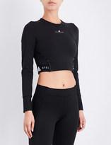 adidas by Stella McCartney Ladies Black Printed Exposed zip Cropped Crepe Training Top
