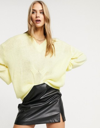 Lost Ink slouchy relaxed jumper with v-neck in lemon