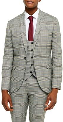 Topman Slim Fit Plaid Peaked Lapel Suit Coat