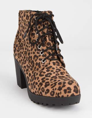 Soda Sunglasses Lug Sole Lace Up Leopard Womens Booties