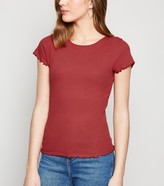 New Look Frill Trim Cap Sleeve T-Shirt