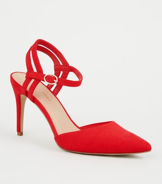 New Look Suedette Strappy Pointed Courts