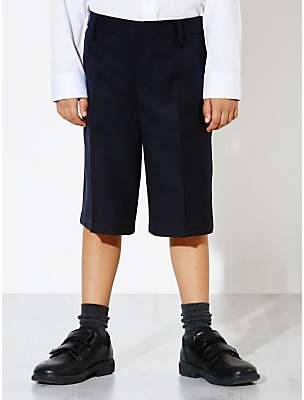 John Lewis & Partners Boys' Easy Care Bermuda Length School Shorts, Navy