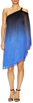 Halston Asymmetrical Ombre Printed Flared Dress