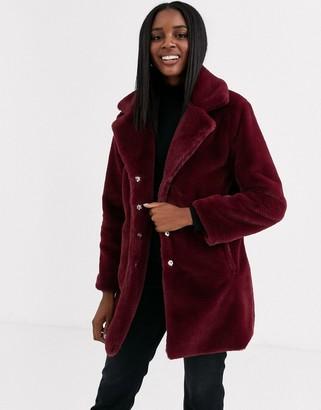 Brave Soul clare faux fur coat-Red