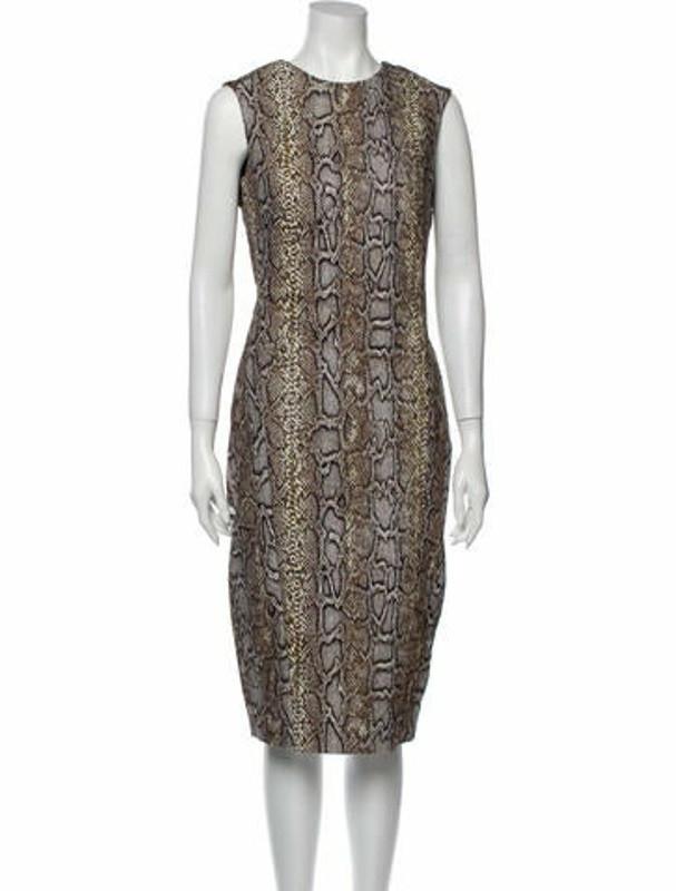 Victoria Beckham Animal Print Midi Length Dress w/ Tags Brown