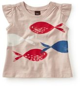 Tea Collection Size 3-6M Pesci Graphic Flutter Sleeve T-Shirt in Pink