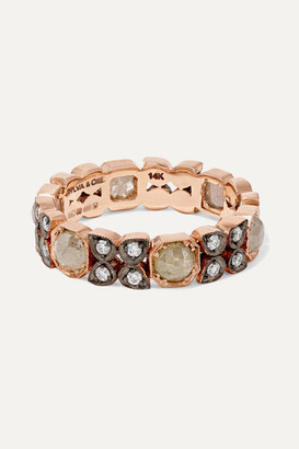 Sylva & Cie 14-karat Oxidized Rose Gold Diamond Ring