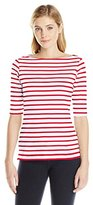 Michael Stars Women's Elbow Sleeve Boatneck Tee with Slits