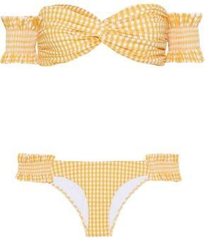 Caroline Constas Andros Off-the-shoulder Twist-front Shirred Gingham Bikini