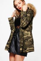 Boohoo Freya Boutique Camo Faux Fur Hood Parka