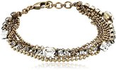 Sorrelli Crystal Clear Gold-Tone Multi-Strand Crystal and Chain Bracelet, 6.5""