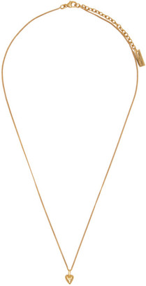 Saint Laurent Gold Mini Heart Charm Necklace