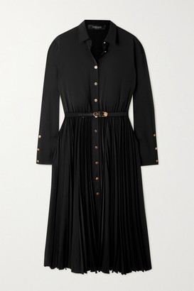 Versace Belted Pleated Crepe Midi Shirt Dress - Black