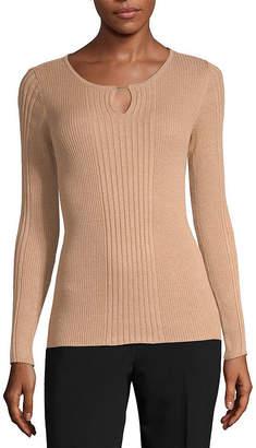 Liz Claiborne Womens Keyhole Neck Long Sleeve Pullover Sweater