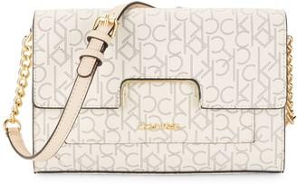 Calvin Klein Mini Pindot Logo-Print Faux Leather Crossbody Bag