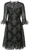 Oscar de la Renta cropped trumpet sleeve lace dress - women - Silk/Nylon/Polyester - 6
