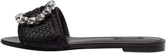 Dolce & Gabbana Black Woven Raffia Jeweled Embellished Flat Slides Size 37