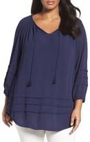 Sejour Plus Size Women's Pleat Detail Peasant Top