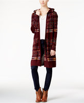 Hooked Up by IOT Juniors' Hooded Midi Cardigan