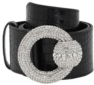 Alessandra Rich 60mm Croc Embossed Leather Belt