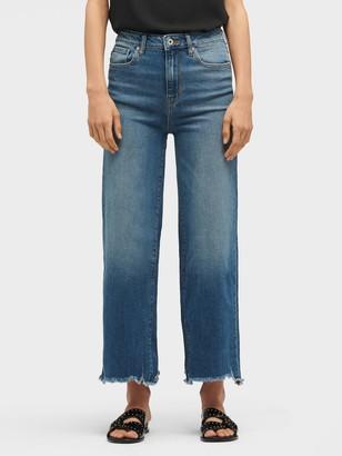 DKNY Women's Frayed Hem Wide Leg Jean - Blue - Size 32