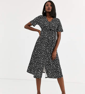 Asos DESIGN Maternity Exclusive nursing zip front midi dress in spot-Multi