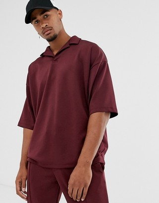 Asos Design DESIGN two-piece oversized revere polo shirt in burgundy scuba-Red
