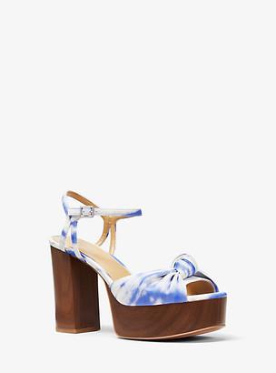 MICHAEL Michael Kors MK Suri Knotted Tie Dye Platform Sandal - Oxford Blue - Michael Kors