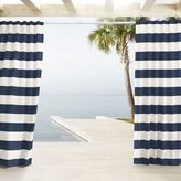 west elm Outdoor Stripe Curtains - Navy