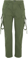 Topshop Hopper Cotton-twill Tapered Pants - Army green