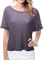 Doublju Women Comfortable Loose Fit Short Sleeve Plus Size Crop Top HEATHERPURPLE,3XL