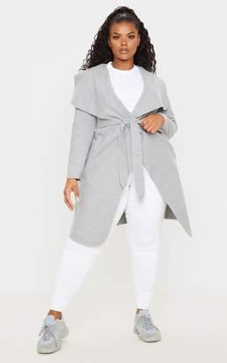 PrettyLittleThing Plus Grey Waterfall Coat