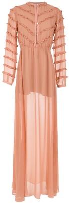 Olympiah ruffled Damasco long dress