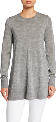 Lafayette 148 New York Metallic Fine-Gauge Merino Wool Crewneck Tunic Sweater