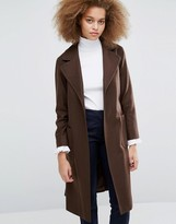 Helene Berman Becca Tie Waist Coat in Brown