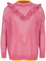River Island Girls Pink open knit frill jumper