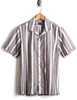 Todd Snyder Short Sleeve Linen Awning Stripe Camp Collar Shirt