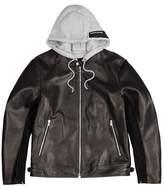 Solid Homme Black Hooded Leather Jacket