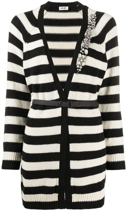 Liu Jo Brooch-Detail Striped Cardigan