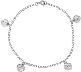 Italian Silver Love Heart Dangle Bracelet, 2.1g
