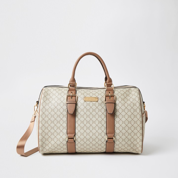Thumbnail for your product : River Island Womens Beige RI Monogram weekend duffle bag