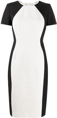 Paule Ka Contrast Panel Midi Dress