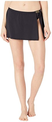 MICHAEL Michael Kors Logo Solids Belted Skirt Bottoms (Black) Women's Swimwear