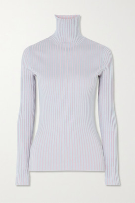 Sies Marjan Victoire Ribbed Stretch-silk Turtleneck Sweater - Blue