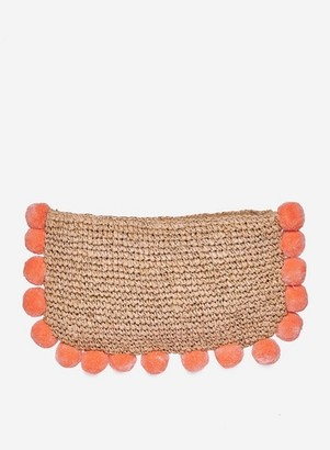 Dorothy Perkins Womens Coral Pom Trim Clutch Bag, Coral