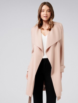 Forever New Sonia Waterfall Trench Coat - Blush - 12