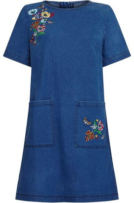 Yumi Butterfly Embroidered Denim Tunic With P