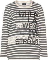 Via Appia Plus Size Statement print striped long sleeve top